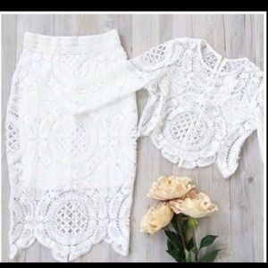 Lace blouse & skirt
